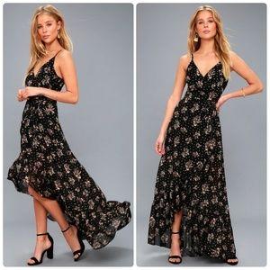 NWT Lulu's Black floral print wrap maxi dress, S